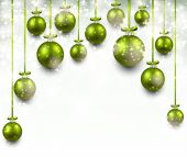 Arc background with green christmas balls. — Stock Vector