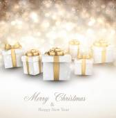 Golden winter background with christmas gifts. — 图库矢量图片