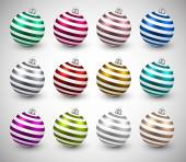 Set of realistic color christmas balls. — Stockvektor