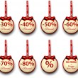 Sale labels with red gift bows. — Stockvektor  #54895579