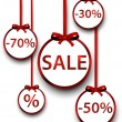 Sale labels with red gift bows. — Vettoriale Stock  #54895883