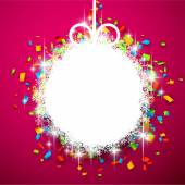 Christmas ball on confetti. — Stock Vector