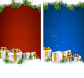 Christmas stripe banners with gift boxes.  — Stock Vector