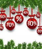 Bolas de Natal venda com ramos de abeto. — Vetor de Stock