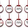 Sale labels with red gift bows. — Vettoriale Stock  #55971241