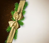 Christmas background with golden bow. — Vector de stock