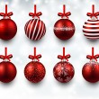 Set of realistic red christmas balls. — Stock Vector #56052495