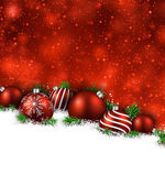 Red winter background with christmas balls.  — Vector de stock