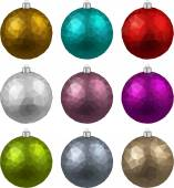 Set of textured realistic christmas balls. — Stock Vector