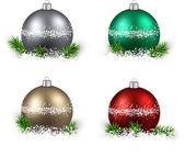 Set of realistic color christmas balls. — Stock Vector