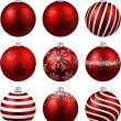 Set of realistic red christmas balls. — Stock Vector #57081919