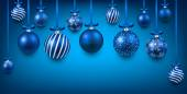 Arc background with blue christmas balls.  — Stock vektor