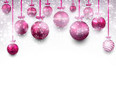 Arc background with magenta christmas balls.  — Stock vektor