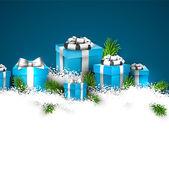 Fond de noël bleu avec des boîtes-cadeaux. — Vecteur