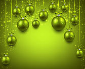 Arc background with green christmas balls.  — Stock vektor