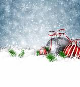 Silver winter background with christmas balls.  — Stock vektor