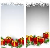 圣诞条纹横幅与礼品盒. — 图库矢量图片