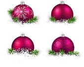 Set of realistic magenta christmas balls. — Stock Vector