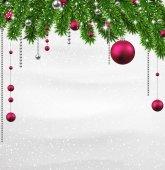 小ぎれいなな枝とクリスマスの背景. — ストックベクタ
