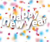 Paper happy new year confetti sign. — Stock Vector