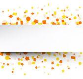 Paper card over orange confetti. — Stock Vector