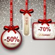 Sale labels with red gift bows. — Vettoriale Stock  #58151263
