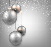 Background with silver christmas balls. — Stock Vector