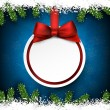 Christmas frame with fir branches and ball. — Stock Vector #59200213