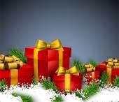 Weihnachten Hintergrund mit Geschenkboxen. — Stockvektor