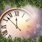 Nieuwjaar klok met besneeuwde achtergrond. — Stockvector
