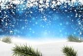 Christmas background with snow. — Stock Vector