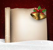 Christmas old paper background with snow. — Stockvector