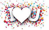 Paper love confetti sign. — Stock Vector