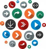 Cloud set of round modern arrow icons. — Stock Vector