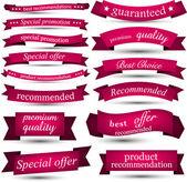 Set of magenta ribbons.  — Stock Vector