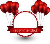 Recommended red ribbon background with balloons. — Stock Vector