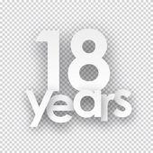 Eighteen years paper sign. — Stock Vector