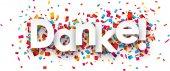 Paper danke confetti sign. — Stock Vector