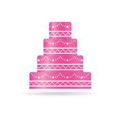 Pink Wedding cake for invitations or card. — Stock Vector