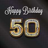 50th Happy birthday anniversary greeting card. — Stock Photo