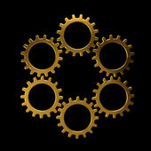 Golden circle of gears — Stock Photo
