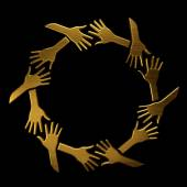 Golden hands in circle. VIP elite symbol — Stock Photo