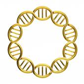 Golden DNA circle isolated on white background — Stock Photo