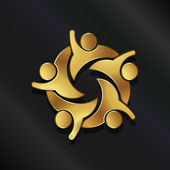 Teamwork Hi5 group of five people logo — Wektor stockowy