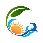 Sunny Sea and green life logo — Vector de stock