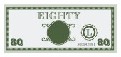 Eighty money bill image. With space to add your text, information and image. — ストックベクタ