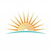 Sunshine with concentric circles logo — Stock Vector