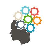 Cabeça humana nas engrenagens, idéias sair do meu conceito de mente — Vetor de Stock