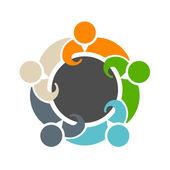 ラウンド テーブルのロゴの 5 を満たすチームワーク — ストックベクタ