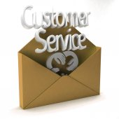 3D customer service in golden envelope — Stock Photo